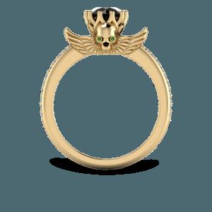 yellow gold, jewelled skull, black diamond, claw set