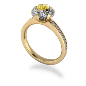 floral, yellow diamond, Cluster
