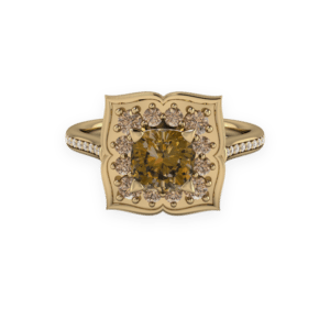 Floral, yellow gold, cognac diamonds, champagne diamonds, cluster
