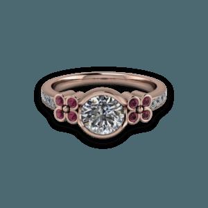 Floral, Diamond, Rhodalite, Rose Gold, Bezal set