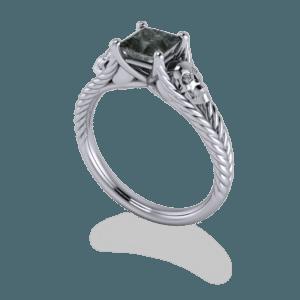 skull, platinum, black diamond, split shank, plaited band, princess cut