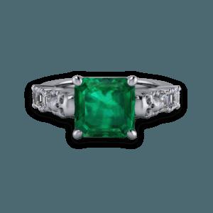 art deco, skull, platinum, emerald, diamond