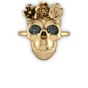 day of the dead, yellow gold, floral, gothic, black diamond