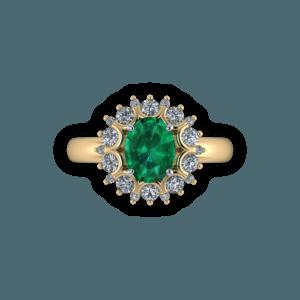 Cluster, emerald, diamond, claw set