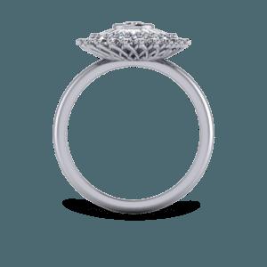diamond, 18ct white gold, ballerina ring, multistone ring, bezel set