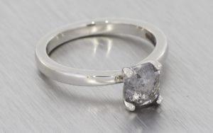 A Beautiful Rose Cut Grey Diamond Engagement Ring Set - Portfolio
