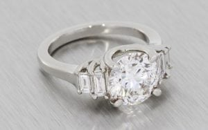 Art deco five stone diamond trellis ring