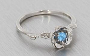 Blue topaz palladium flower style engagement ring  - Portfolio