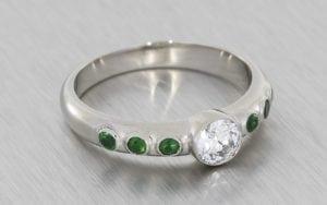 Contemporary, Bezel-Set, Diamond and Emerald Engagement Ring - Portfolio