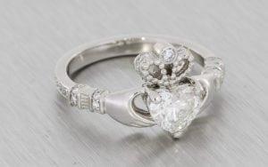 Custom-Cut Heart Diamond Platinum Claddagh Ring  - Portfolio