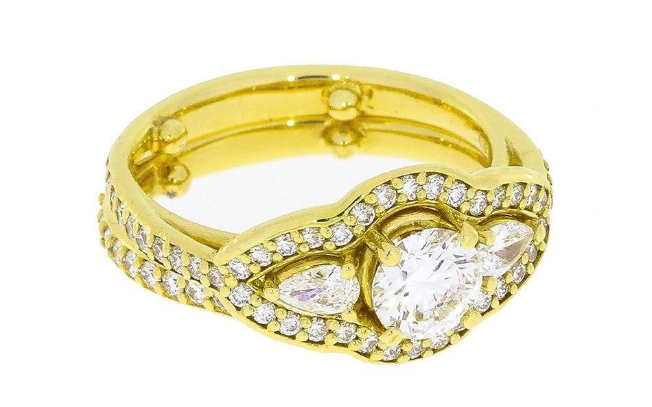 Diamond Encrusted Trilogy Engagement Ring – Portfolio