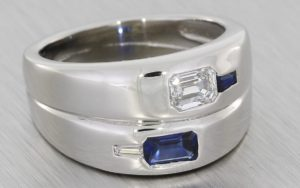 Unusual Asymmetrical Diamond & Sapphire Radiant Cut Pinkie Ring – Portfolio