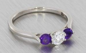 Diamond & Amethyst Contemporary Trilogy Ring - Portfolio
