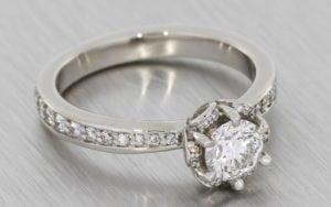 Diamond Petal Halo Engagement ring