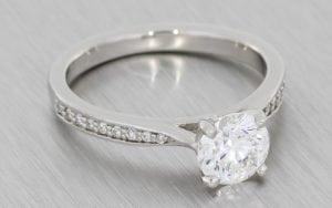Beautiful solitaire engagement ring with diamond set shoulders - Portfolio