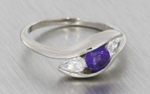 Angled Three stone amethyst and diamond engagement ring - Portfolio