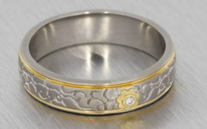 Floral two tone wedding band - Portfolio