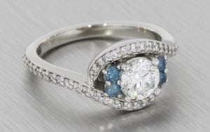 Blue Diamond Bypass Swirl Ring - Portfolio