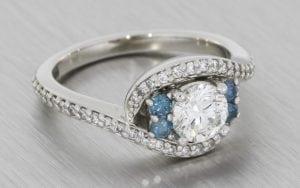 Blue Diamond Bypass Swirl Ring - Portfolio