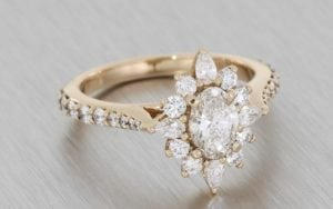 Stunning rose gold ballerina engagement ring with tapered shoulders - Portfolio