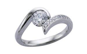 Entwined diamond single twist engagement ring set - Portfolio
