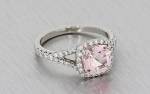 Palladium Split Shank Ring With A Cushion Cut Morganite And Diamond Halo