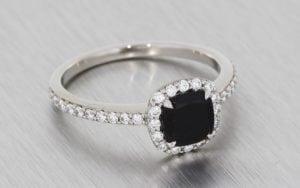 Contemporary Cushion Cut Onyx & Diamond Halo Engagement Ring - Portfolio