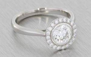 Bezel Set Halo Engagement Ring - Portfolio
