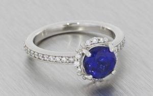 Sapphire and diamond halo ring set - Portfolio