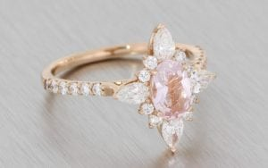 Romantic Rose Gold Ballerina Ring With A Beautiful Soft Pink Oval Morganite