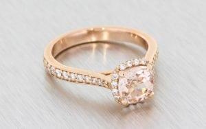 Rose Gold, Cushion-Cut, Morganite Halo Ring - Portfolio