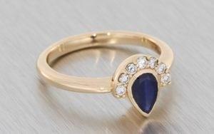 Rose Gold Sapphire Pear with Mini Half-Halo - Portfolio