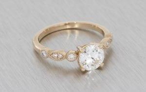 Rose Gold Vintage Engagement Ring with Milgrain Shoulders - Portfolio