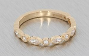 Rose gold vintage marquise and round diamond wedding band - Portfolio
