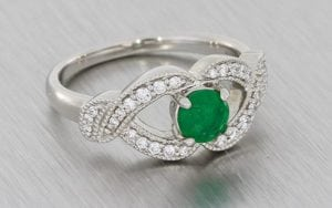 Victorian Inspired Emerald And Diamond Engagement Ring – Portfolio