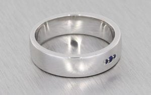 White gold gents wedding band set with round sapphires
