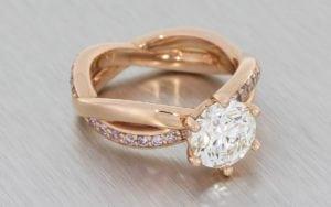 Woven rose gold and diamond engagement and wedding ring set - Portfolio