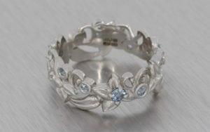 Platinum Floral Engagement Ring Band - Portfolio