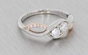 Two-Stone Diamond Asymmetric Engagement Ring - Portfolio