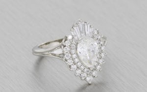 A magnificent pear shaped ballerina ring with a tantalizing mix of round and baguette cut diamonds.