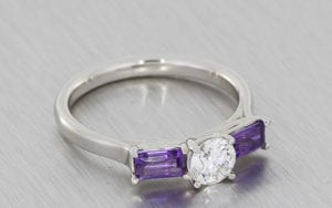 Diamond And Amethyst Platinum Three Stone Ring