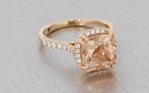Cushion Cut Morganite And Diamond Engagement Ring