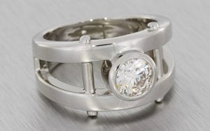 Mens Split Shank Bezel Set Diamond Ring