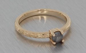 Rose Gold Grey Diamond Ring Delicately Engraved with Floral Detailing
