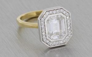 Bezel Set Emerald Halo Engagement Ring