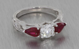 Diamond and ruby organic trilogy ring