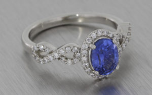 Platinum, sapphire and diamond infinity ring