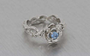 Floral Aquamarine and Diamond Engagement Ring
