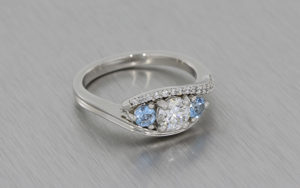 Three Stone Aquamarine & Diamond Platinum Ring