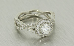 Vintage Inspired Diamond Halo Ring